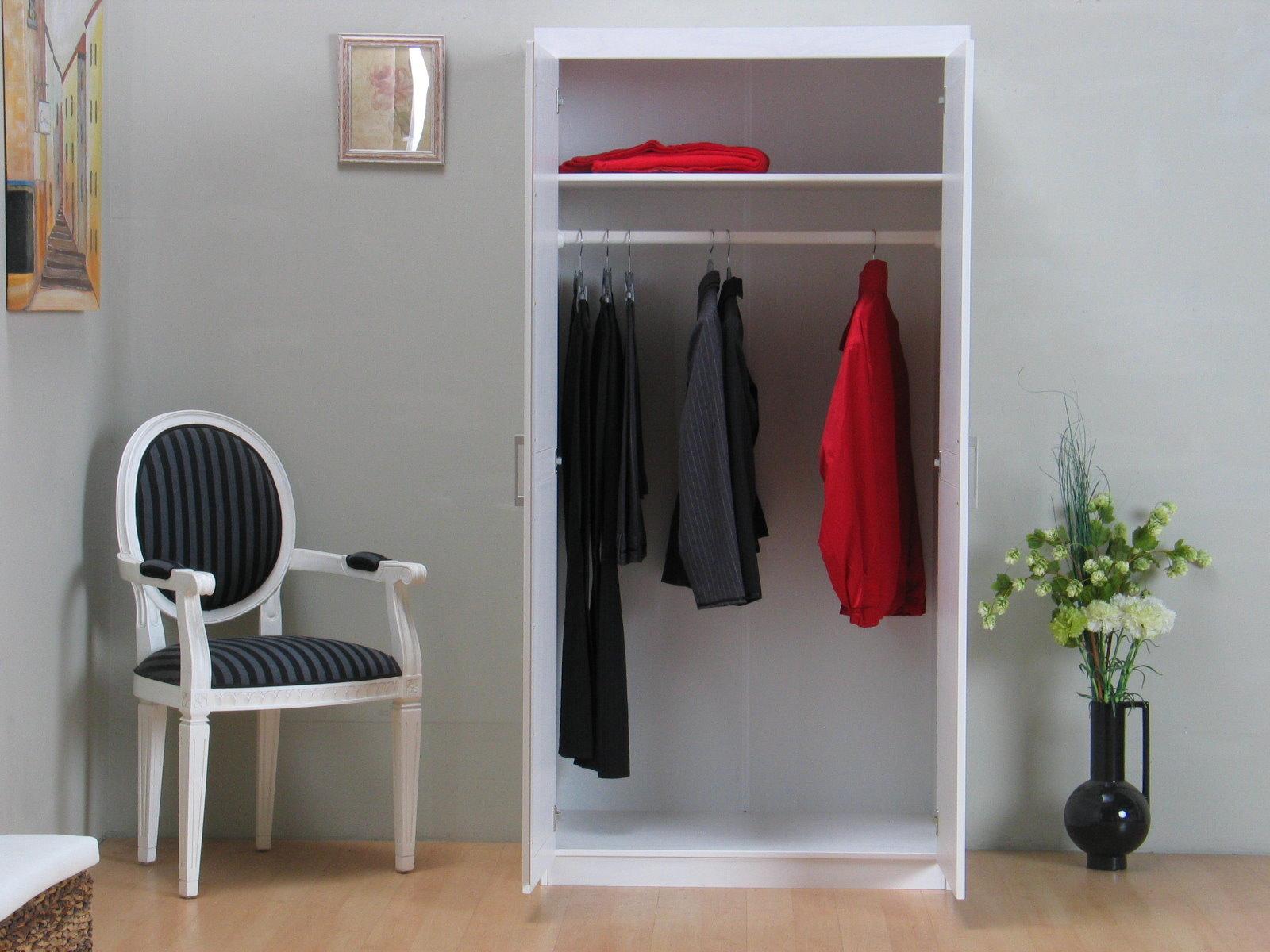 2 trg kleiderschrank hakon schlafzimmerschrank fl gelt renschrank massiv wei m bel wohnen. Black Bedroom Furniture Sets. Home Design Ideas