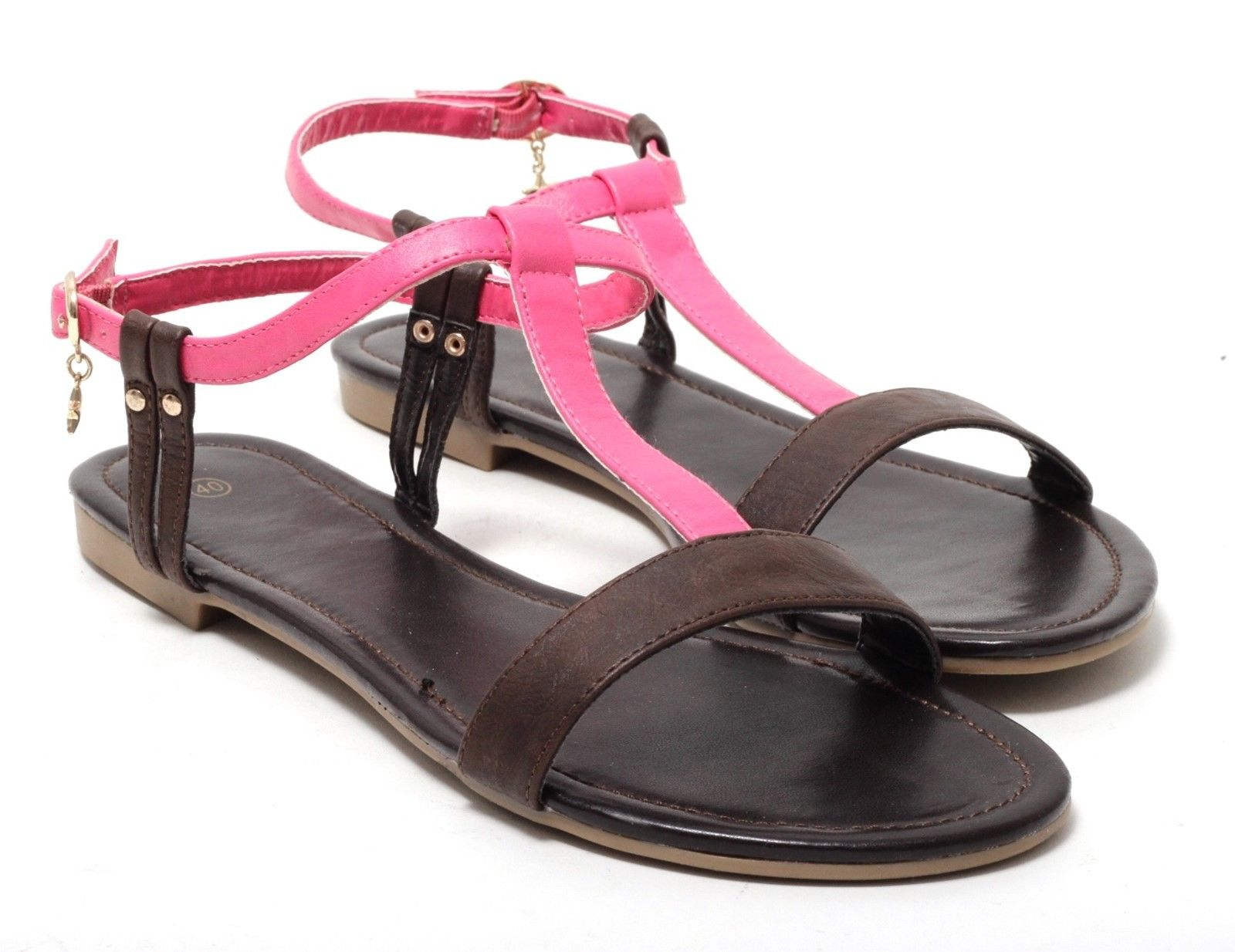 riemchensandalen r mer sandalen sandaletten schuhe charme anh nger braun pink kleidung damenschuhe. Black Bedroom Furniture Sets. Home Design Ideas