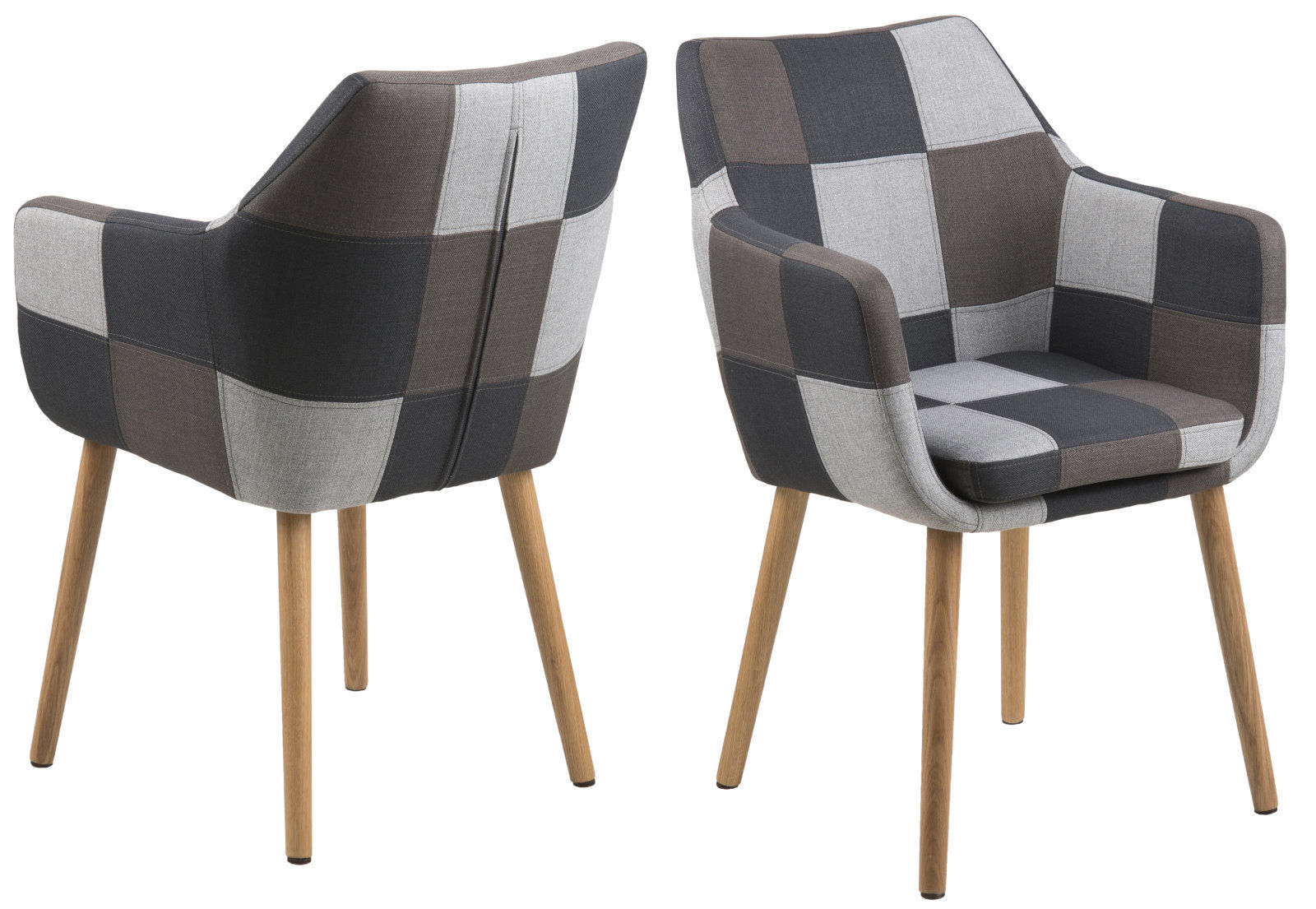 pkline armstuhl in patchwork grau sessel stuhl polsterstuhl armsessel retro ebay. Black Bedroom Furniture Sets. Home Design Ideas