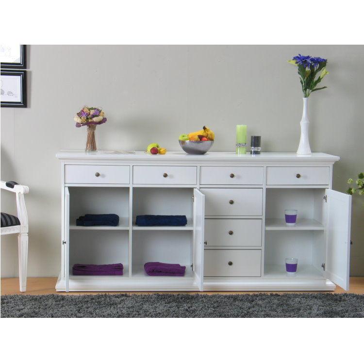 sideboard paris kommode anrichte schrank highboard wei landhaus 7 schubladen ebay. Black Bedroom Furniture Sets. Home Design Ideas