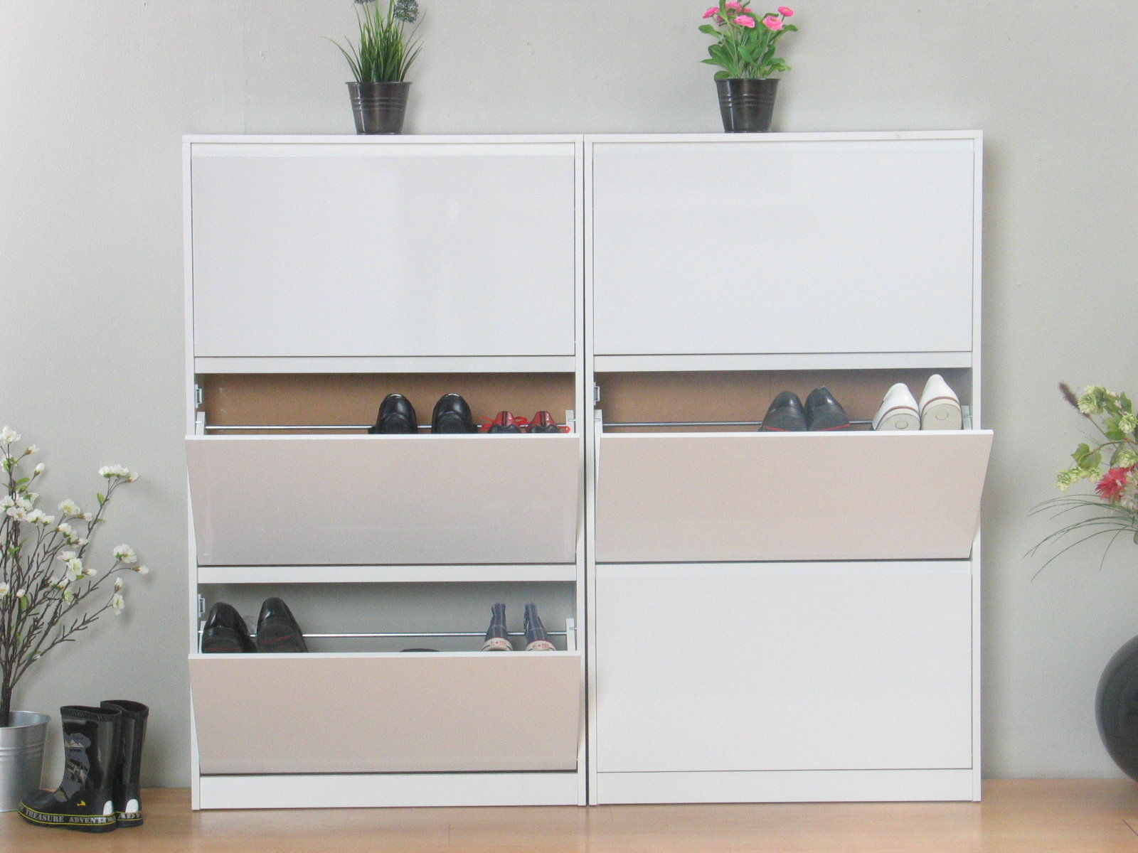 2x schuhschrank light schuhkipper schuhregal flur dielen schrank weiss hochglanz ebay. Black Bedroom Furniture Sets. Home Design Ideas