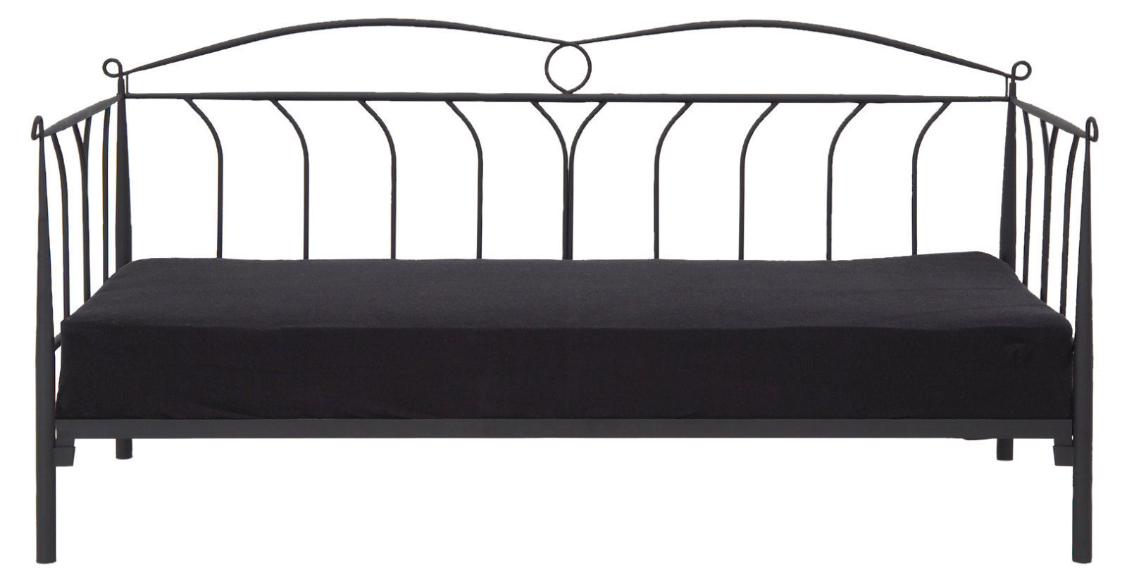 pkline metallbett schwarz 90x200 bett jugendbett kinderbett tagesbett sofa ebay. Black Bedroom Furniture Sets. Home Design Ideas
