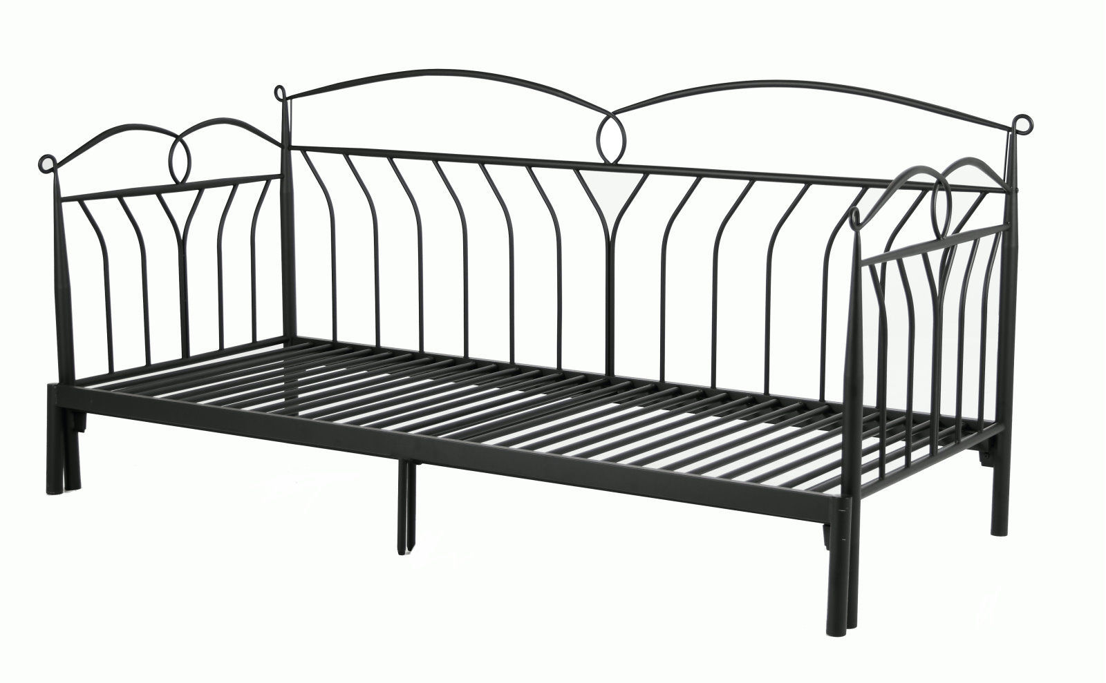 pkline metallbett schwarz 90x200 bett jugendbett kinderbett tagesbett sofa m bel wohnen. Black Bedroom Furniture Sets. Home Design Ideas