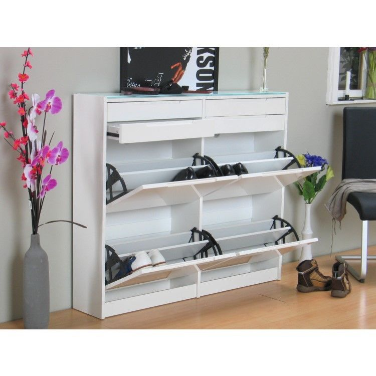 meuble chaussures berlin armoire de couloir dielen blanc haute brillance ebay. Black Bedroom Furniture Sets. Home Design Ideas
