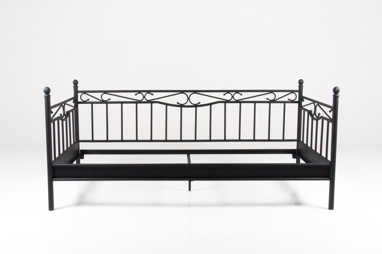 Metallbett schwarz 90x200  PKline Metallbett schwarz 90x200 Bett Jugendbett Kinderbett ...
