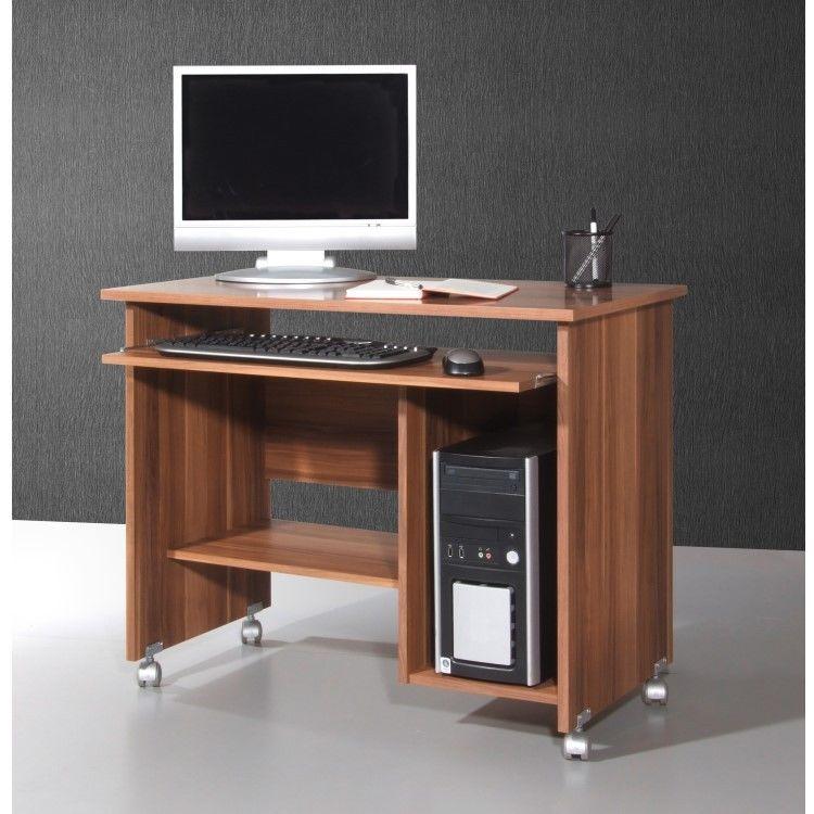 germania computertisch walnuss rollen schreibtisch b ro tisch b rom bel computer ebay. Black Bedroom Furniture Sets. Home Design Ideas