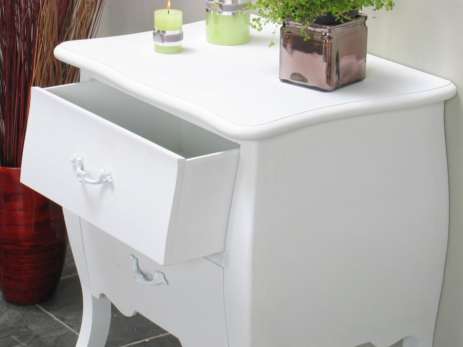 2x nachttisch bilbao schubladen kommode nachtschrank beistellschrank wei m bel wohnen. Black Bedroom Furniture Sets. Home Design Ideas