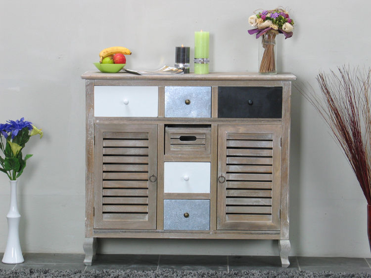 kommode madrid sideboard used look white wash schubladen flur dielen schrank dynamic. Black Bedroom Furniture Sets. Home Design Ideas