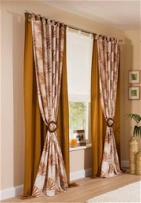 2x fertigdeko vorhang 135x145cm schlaufen schal gardinen - Gardinen braun ...