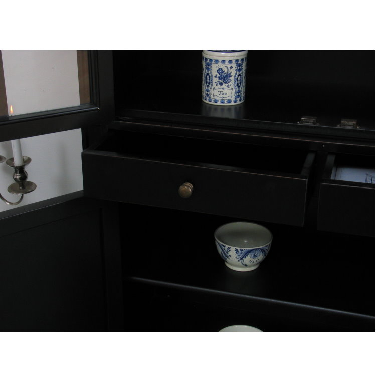 amaretta vitrinenschrank aufsatzbuffet schwarz lackiert antik patiniert m bel wohnen. Black Bedroom Furniture Sets. Home Design Ideas