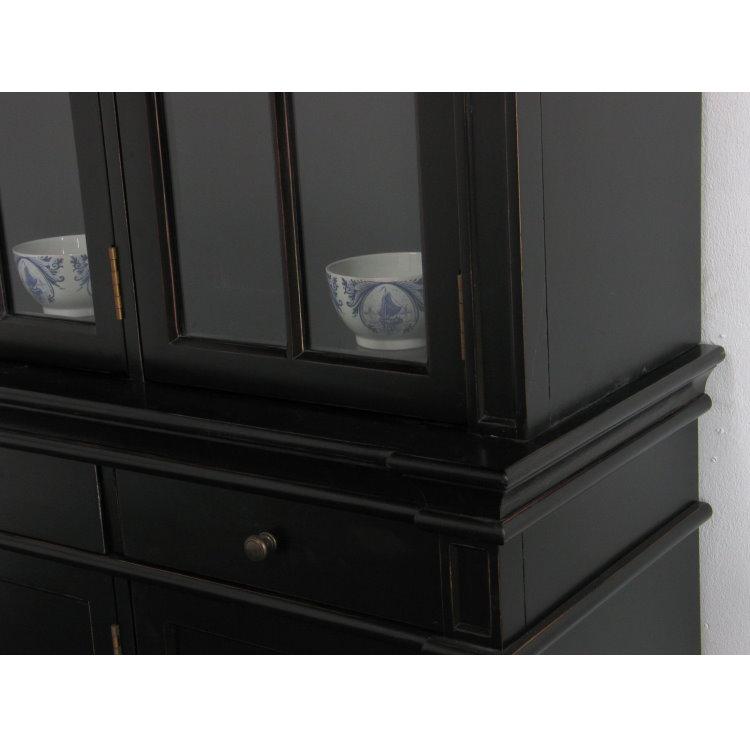 amaretta vitrinenschrank aufsatzbuffet antik patiniert schwarz lackiert m bel wohnen. Black Bedroom Furniture Sets. Home Design Ideas
