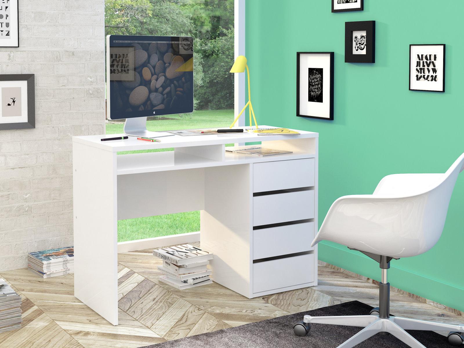 schreibtisch plus wei hochglanz arbeitstisch computertisch kinderschreibtisch m bel wohnen tische. Black Bedroom Furniture Sets. Home Design Ideas