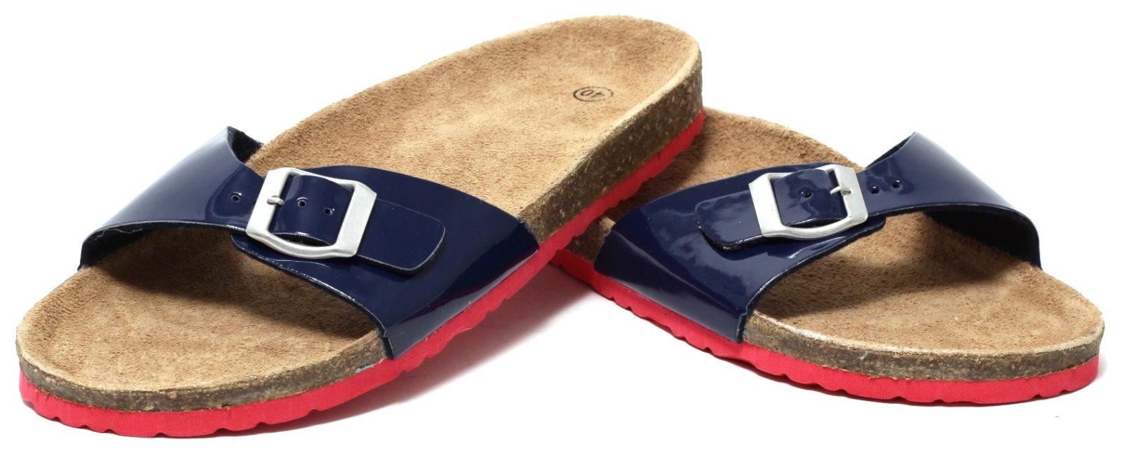 Damen Bio Trend Pantolette Gr 37-41 blau Sandale Sandalette Pantoffel Lack Optik yzdDe