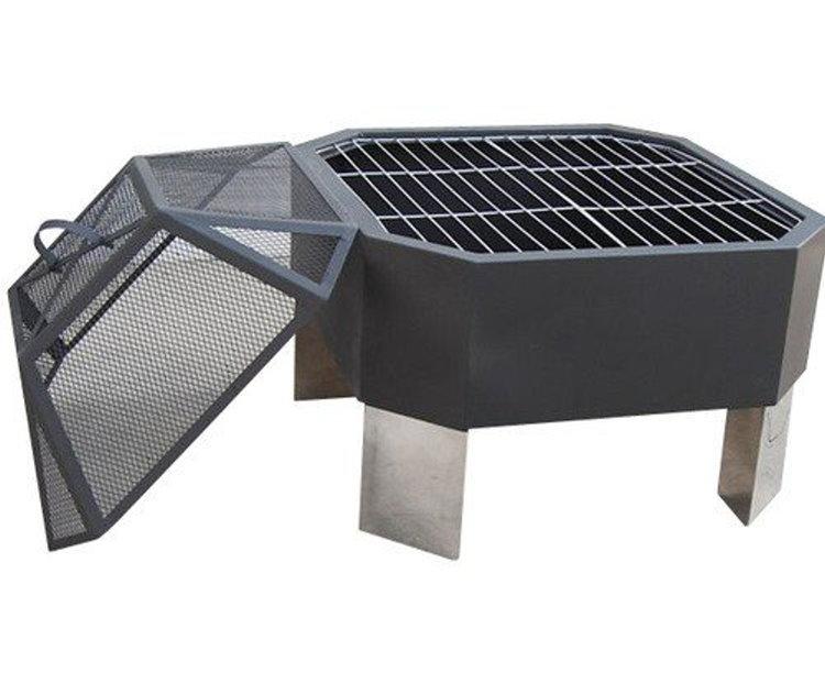 feuerstelle grill partygrill achteckig funkenschutz bbq. Black Bedroom Furniture Sets. Home Design Ideas