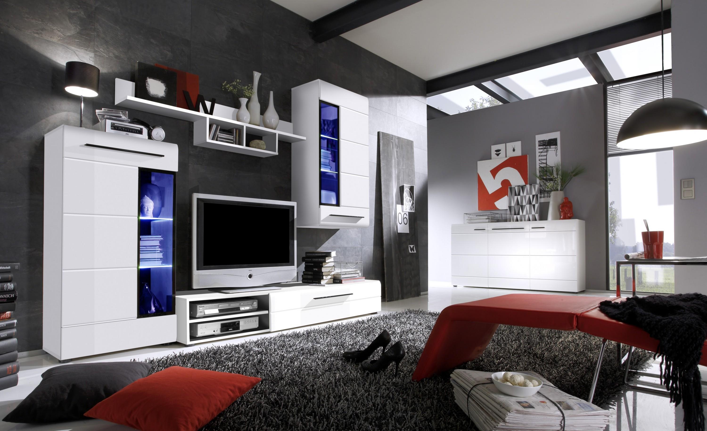 wohnwand skin trend hochglanz wei inkl led regalwand ebay. Black Bedroom Furniture Sets. Home Design Ideas