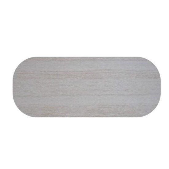 Werzalit tischplatte oval travertin 146x94 bistrotisch for Marmor tischplatte oval