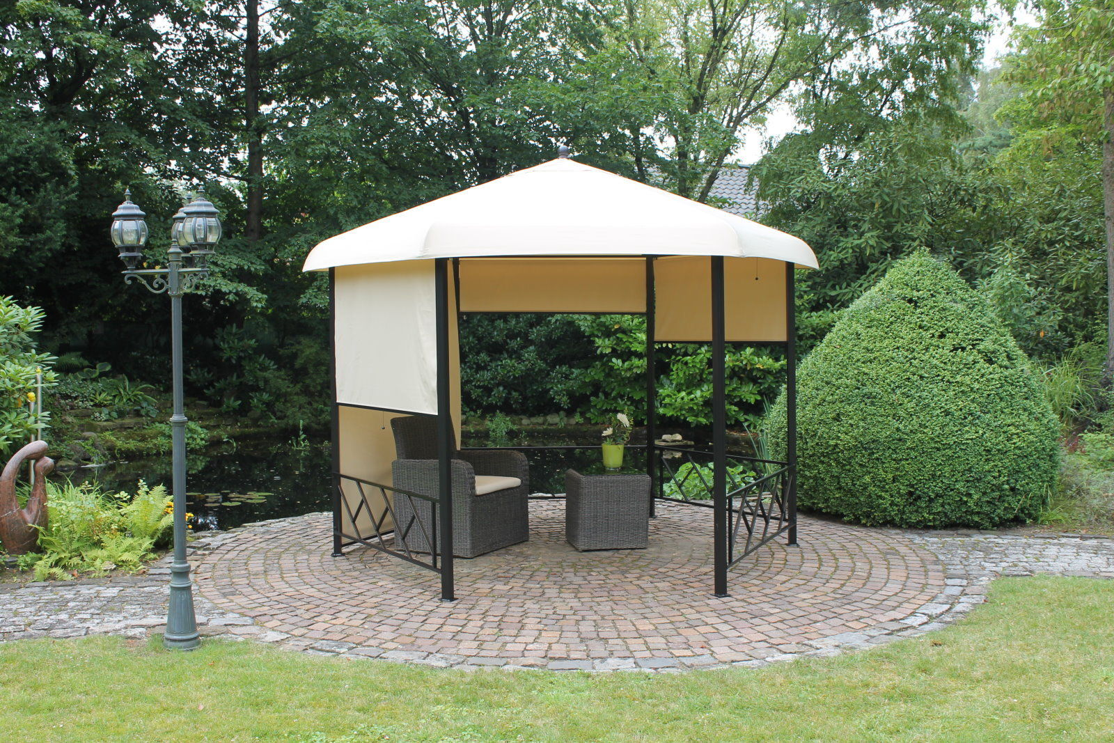 leco 6 eck pavillon rollos garten zelt festzelt partyzelt sonnenschutz natur ebay. Black Bedroom Furniture Sets. Home Design Ideas