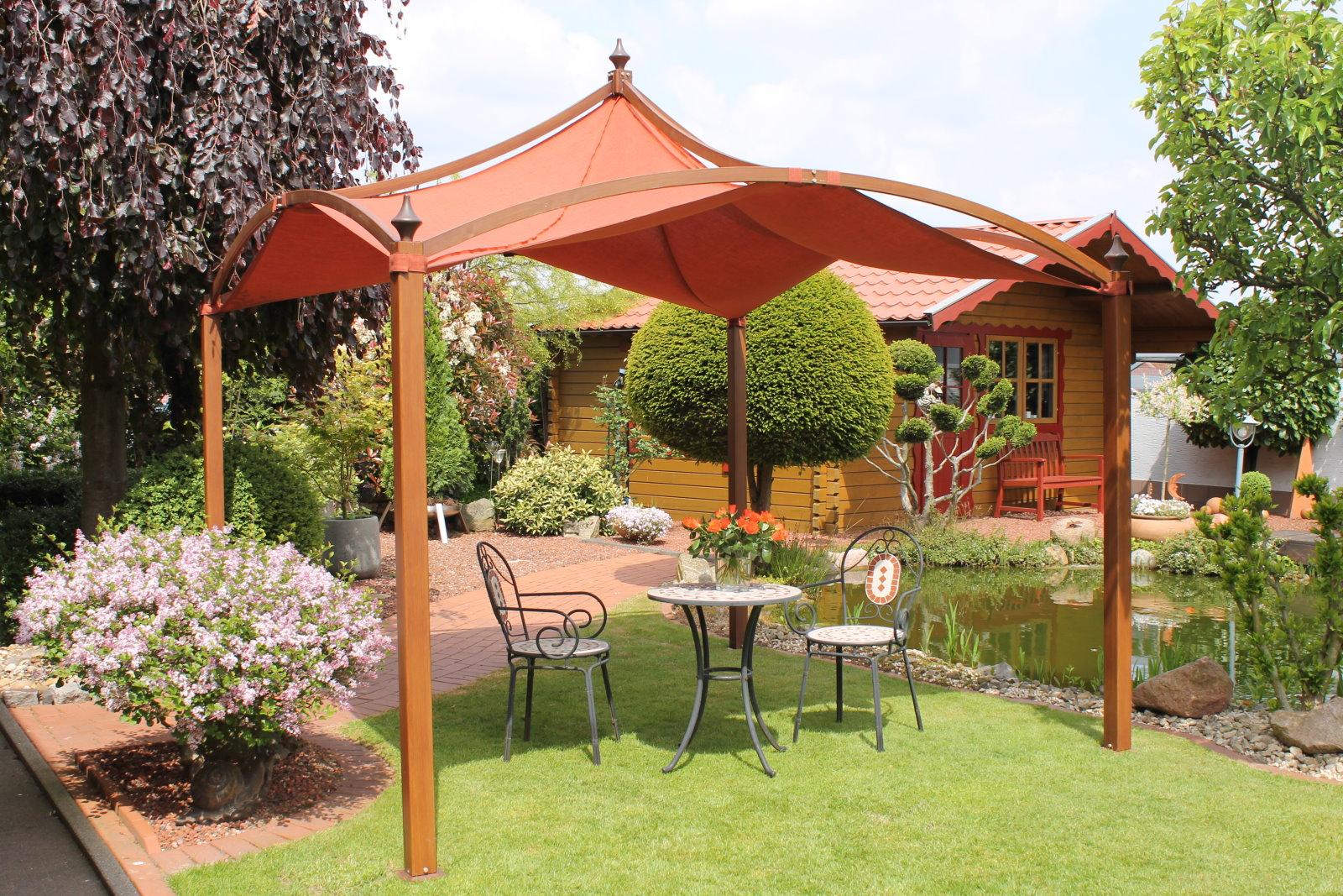 leco pavillon romantik 3x3m garten sonnenschutz zelt partyzelt holz optik ebay. Black Bedroom Furniture Sets. Home Design Ideas