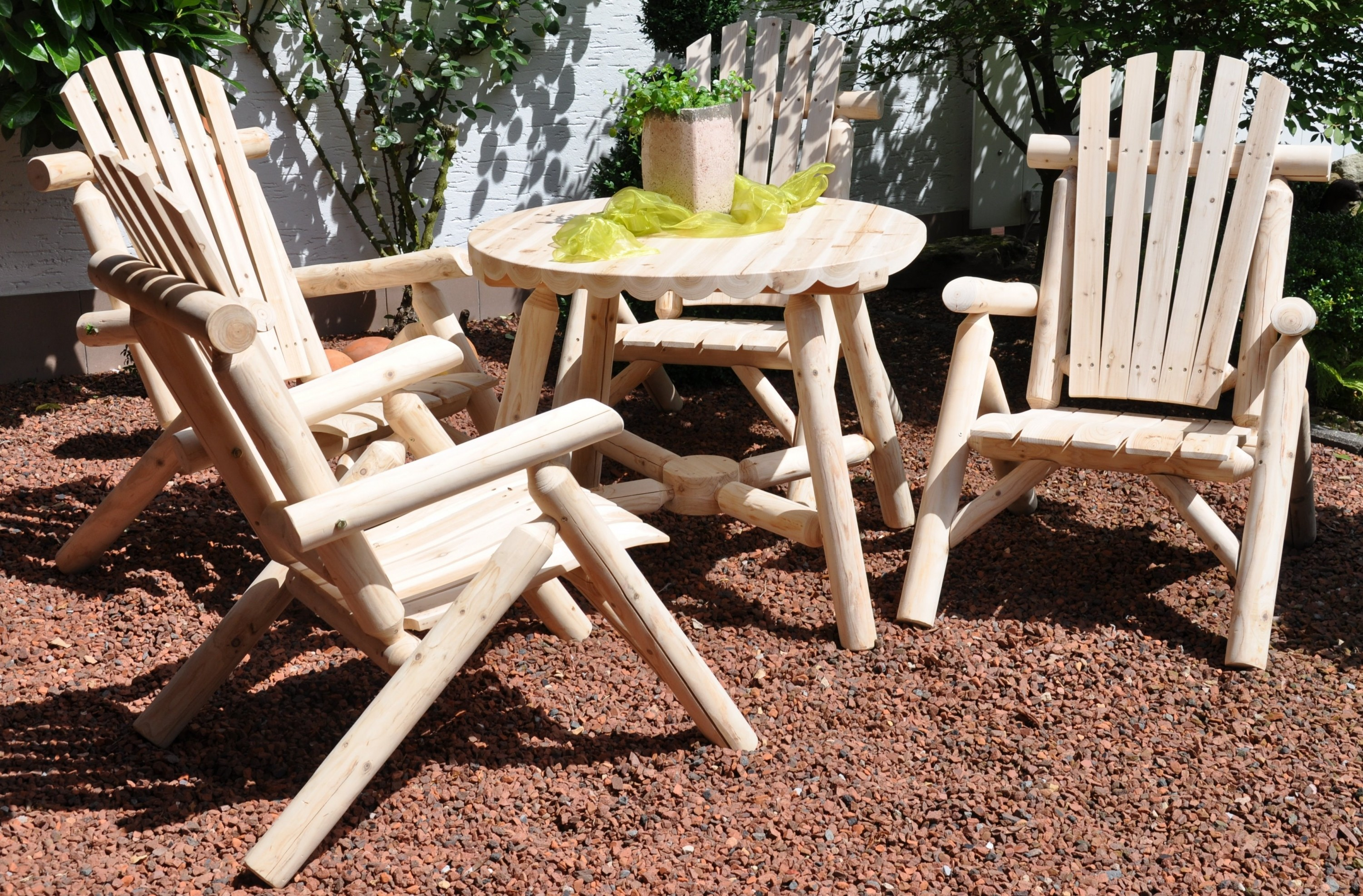 leco massiv holz tisch 88cm gartentisch garten m bel rundholz esstisch ebay. Black Bedroom Furniture Sets. Home Design Ideas