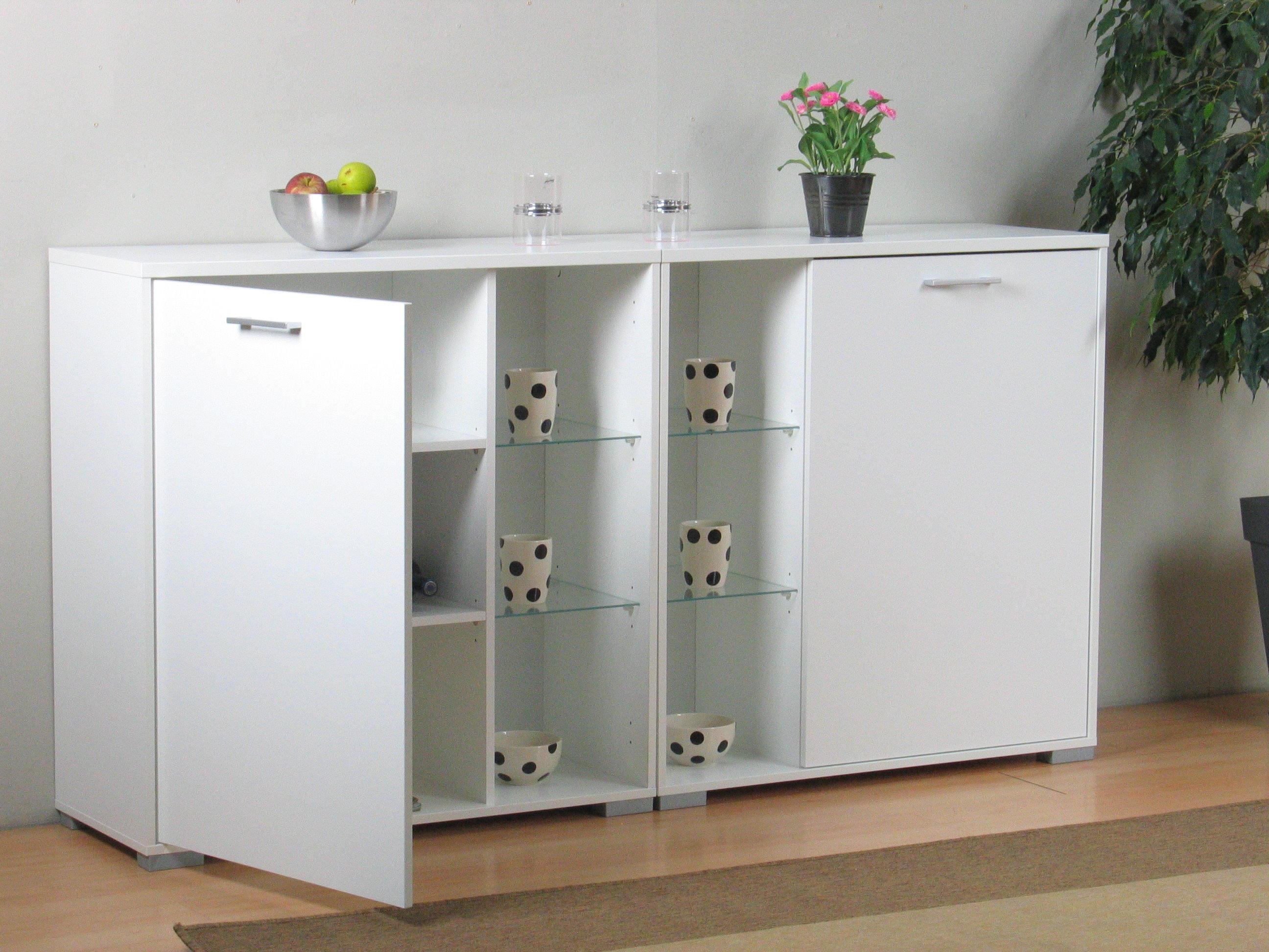 2x anrichte wega kommode wandschrank h ngeschrank glas. Black Bedroom Furniture Sets. Home Design Ideas