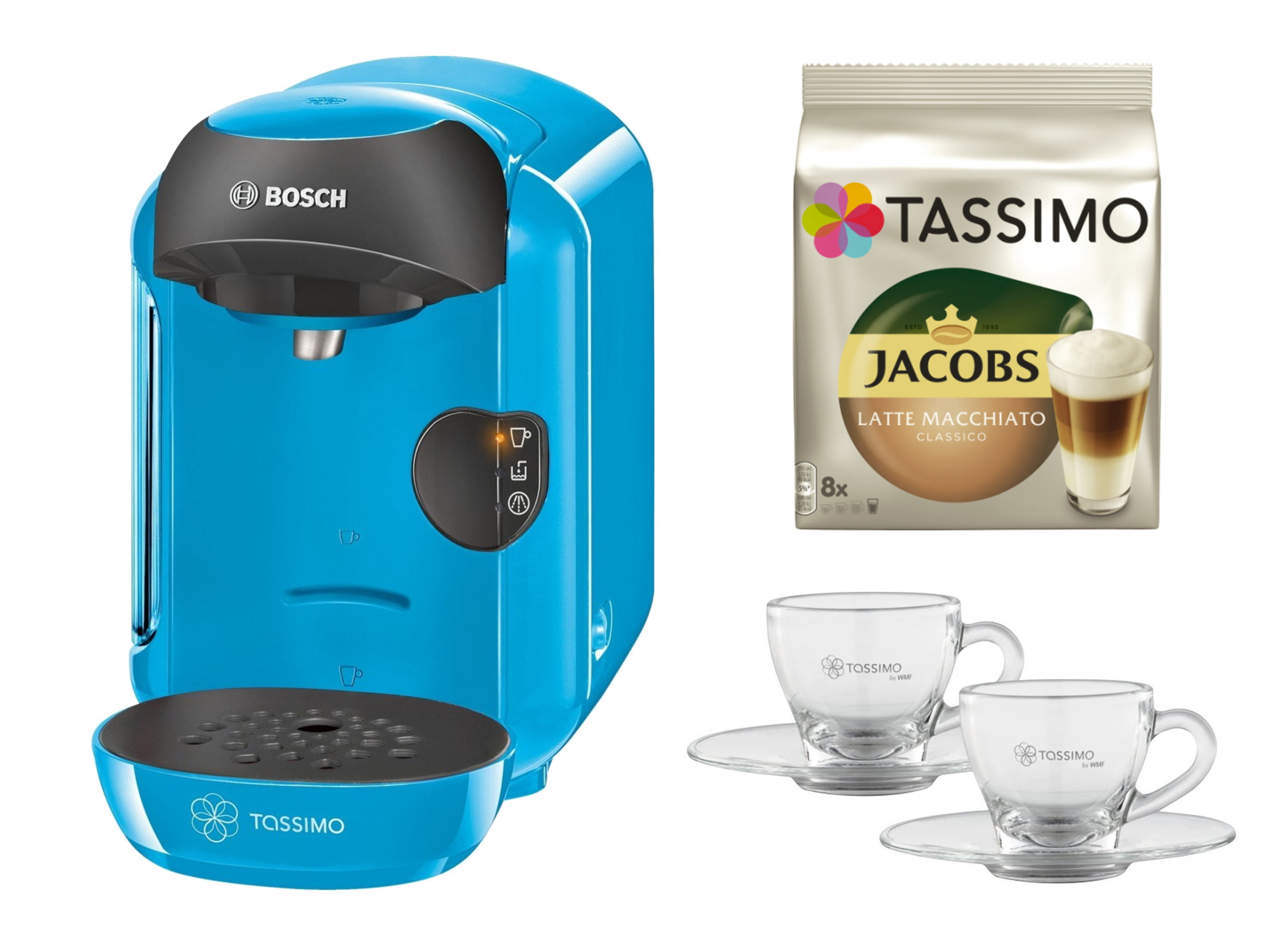 bosch tassimo vivy 20 eur gutscheine jacobs tdiscs wmf espresso gl ser set ebay. Black Bedroom Furniture Sets. Home Design Ideas
