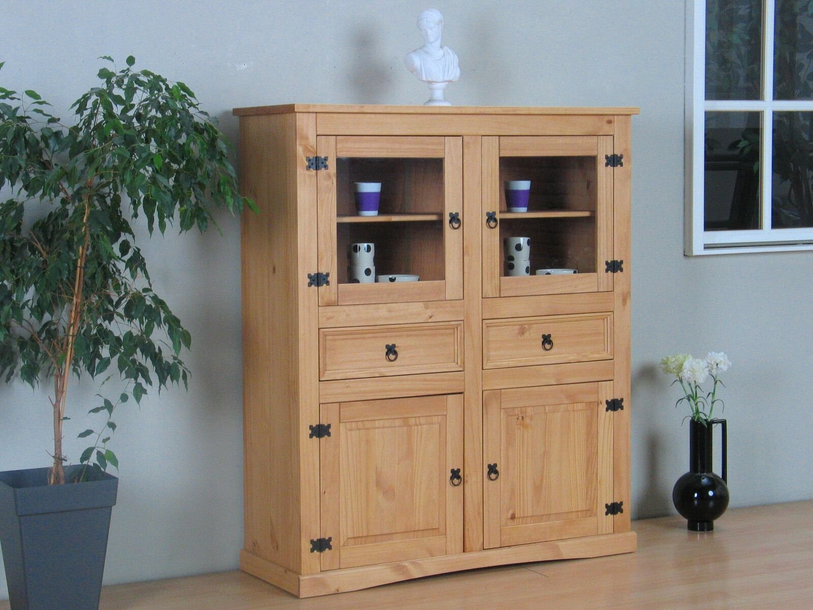 highboard new mexico natur kiefer massiv mexiko kommode sideboard schrank ebay. Black Bedroom Furniture Sets. Home Design Ideas