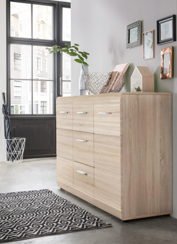 sideboard dresden kommode anrichte schubladen flur b ro schrank sonoma eiche ebay. Black Bedroom Furniture Sets. Home Design Ideas
