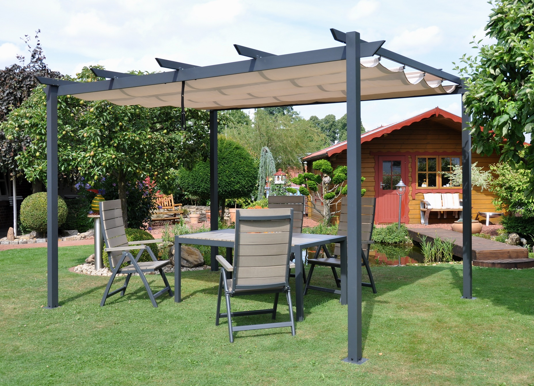 leco pergola 3x4m garten terrasse berdachung pavillon windschutz sonnenschutz ebay. Black Bedroom Furniture Sets. Home Design Ideas
