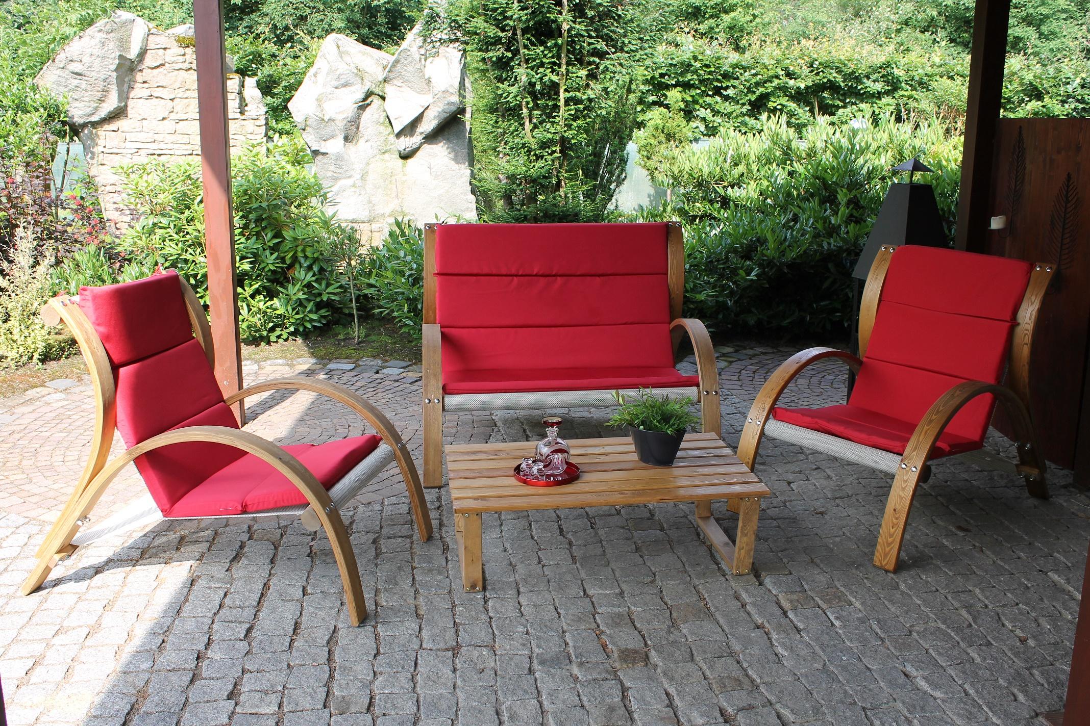 leco holz sitzgruppe rustik garten lounge tisch sessel stuhl sofa m bel garten. Black Bedroom Furniture Sets. Home Design Ideas