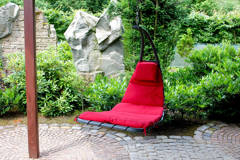 leco schwingliege h ngeliege h ngesessel sonnenliege garten liege m bel rot ebay. Black Bedroom Furniture Sets. Home Design Ideas