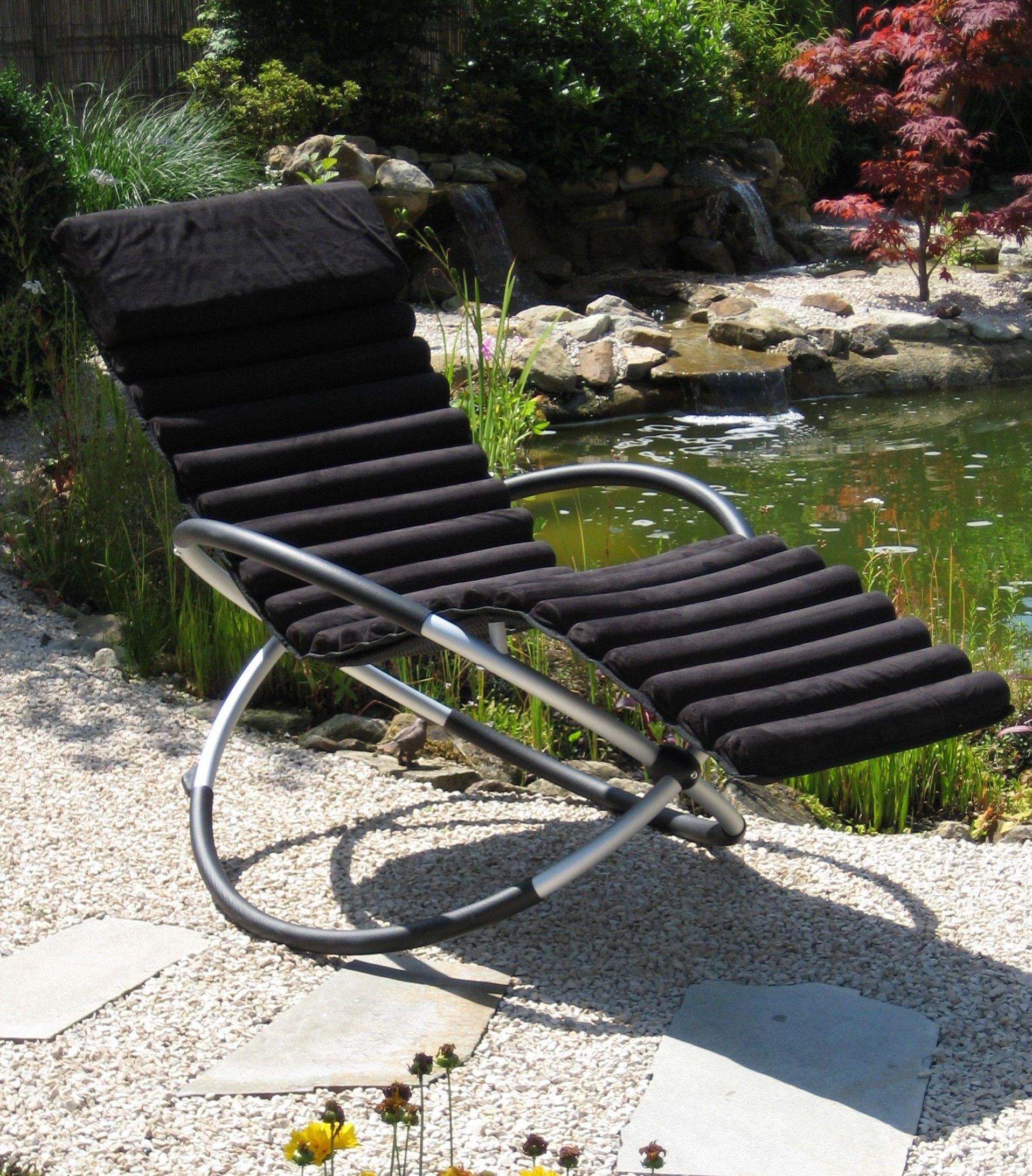 leco schaukelstuhl kissen stuhlkissen garten liege auflage sonnenliege schwarz ebay. Black Bedroom Furniture Sets. Home Design Ideas