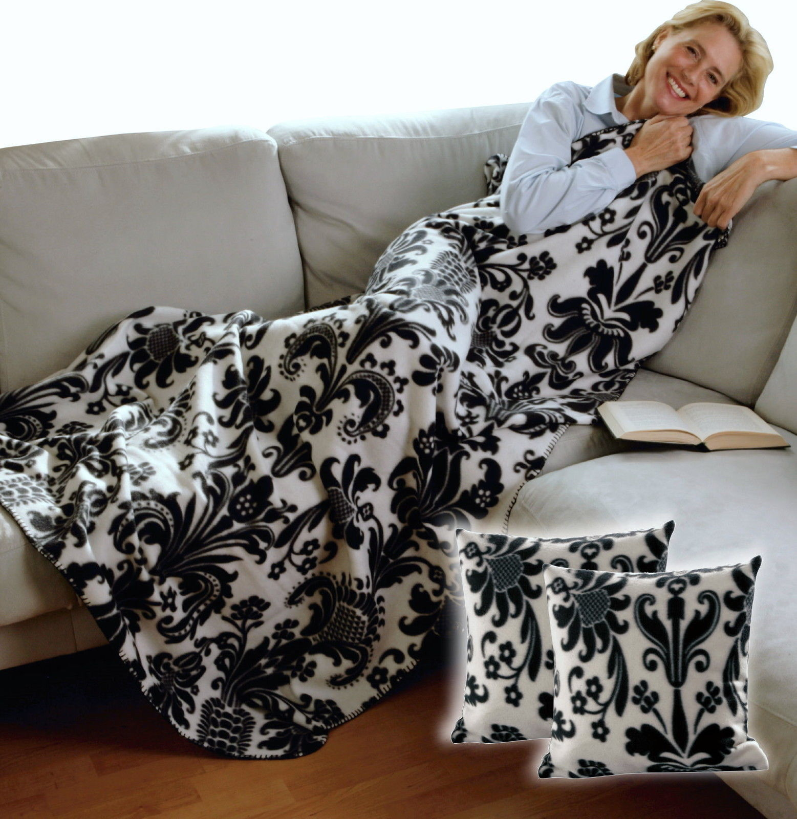 fleece decke 165x120 2x kissenbezug kuscheldecke wohndecke tagesdecke kissen ebay. Black Bedroom Furniture Sets. Home Design Ideas