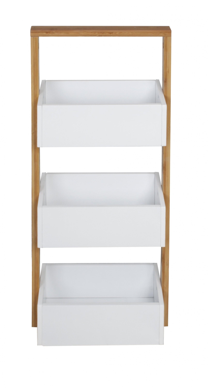 Bois massif bambou tag re de salle bain avec 3 d p t etag re verticale meuble ebay - Etagere salle de bain bois ...