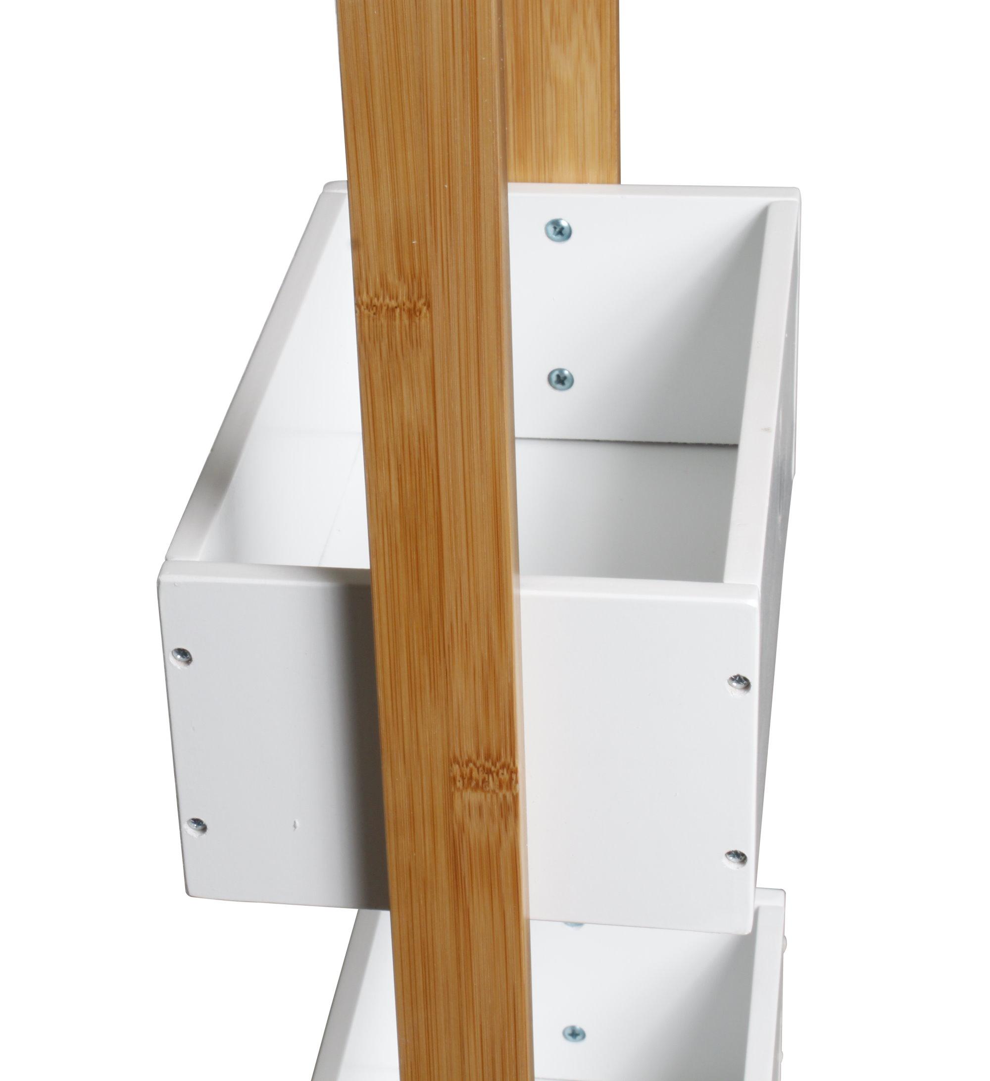 massiv holz bambus badregal mit 3 ablagen regal bad badezimmer standregal m bel. Black Bedroom Furniture Sets. Home Design Ideas
