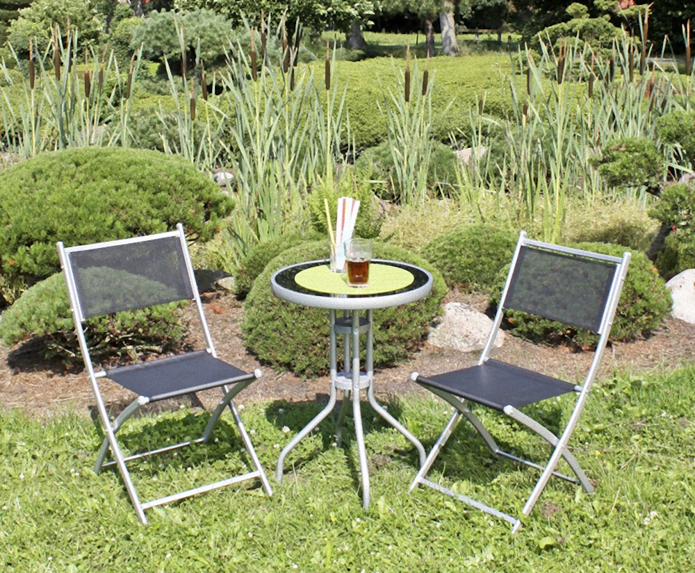 garden pleasure balkon set stahl garten terrasse tisch klappstuhl stuhl st hle garten m bel. Black Bedroom Furniture Sets. Home Design Ideas