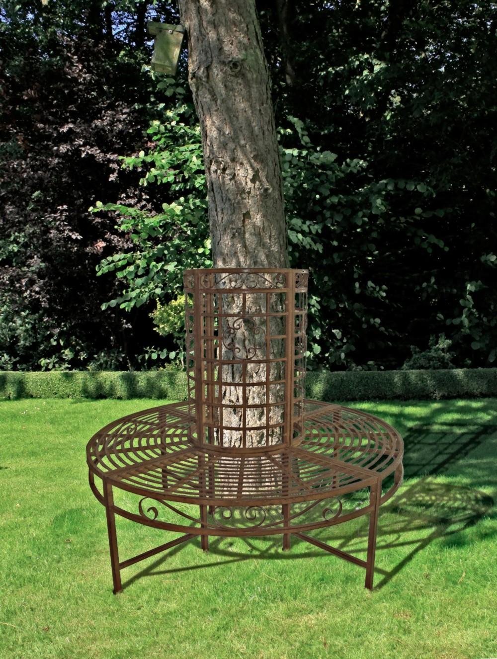 garden pleasure metall baumbank gartenbank sitzbank parkbank rund rost optik ebay. Black Bedroom Furniture Sets. Home Design Ideas