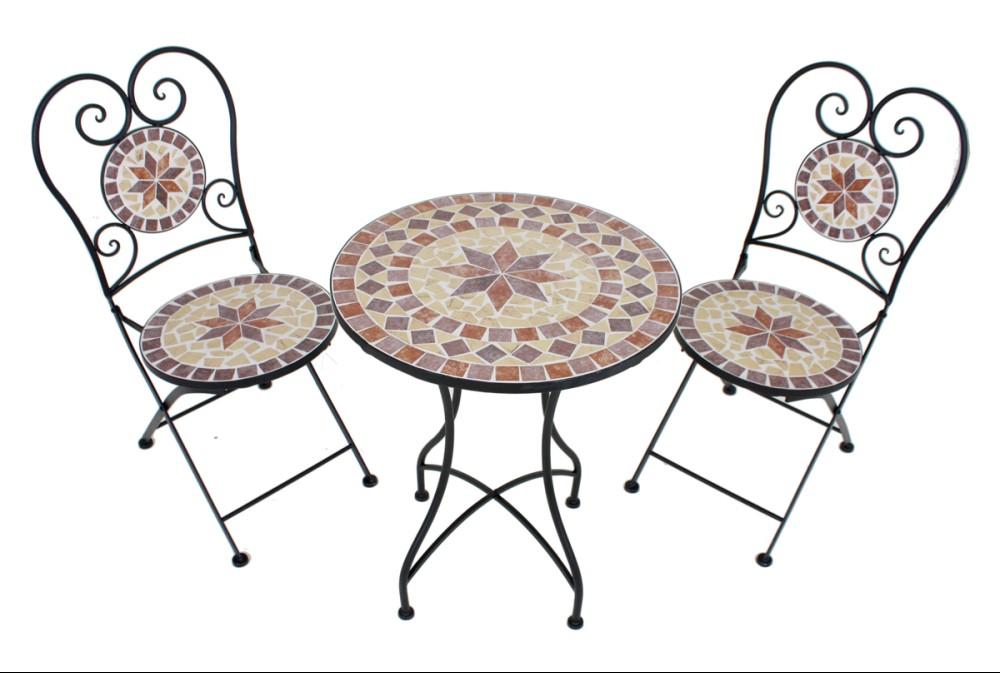 3tlg. Balkon Set Mosaik Garten Terrasse Metall Stuhl Tisch ...