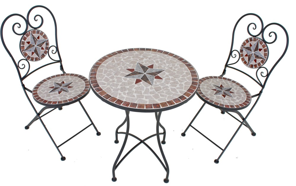 3tlg balkon set mosaik garten terrasse metall stuhl tisch. Black Bedroom Furniture Sets. Home Design Ideas