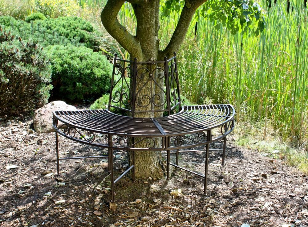 Garden pleasure metall baumbank narvi gartenbank sitzbank for Rost lampen garten
