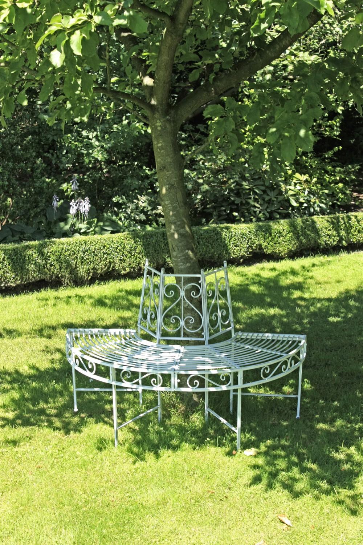 garden pleasure metall baumbank varda gartenbank sitzbank parkbank antik wei garten deko. Black Bedroom Furniture Sets. Home Design Ideas