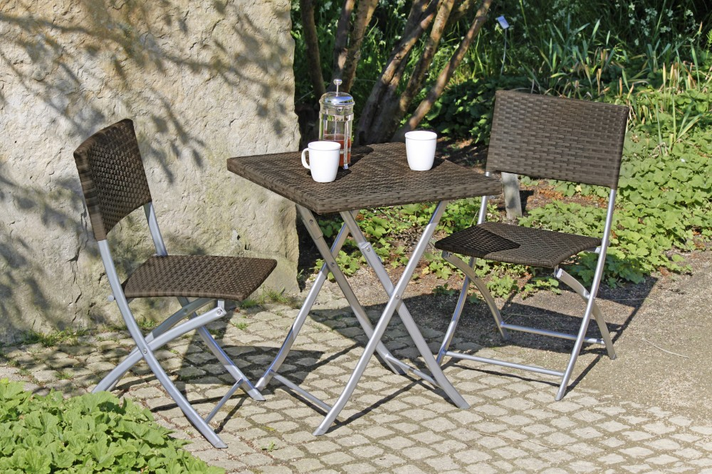 garden pleasure balkon set tisch stuhl st hle klapptisch klappstuhl rattan optik ebay. Black Bedroom Furniture Sets. Home Design Ideas