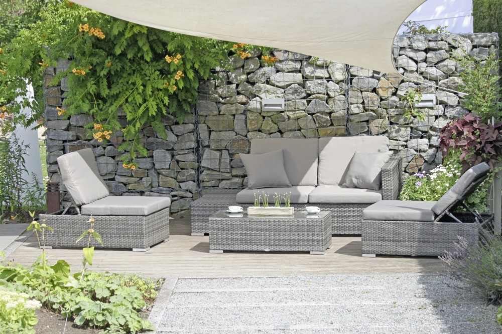 Terrassenmöbel rattan  Garten Lounge Sitzgruppe Relax Sofa + Tisch + Sessel Terrasse ...