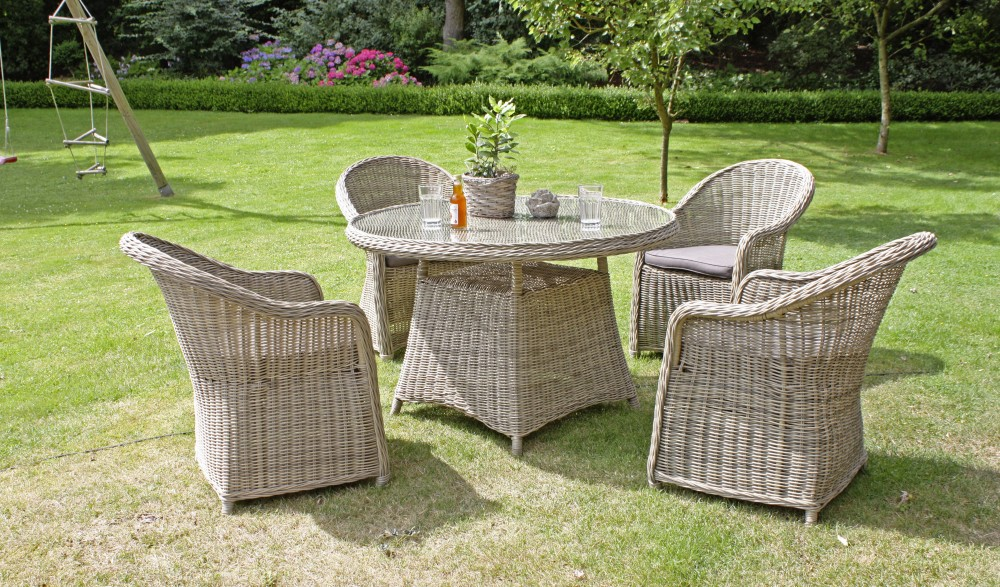 5tlg garten sitzgruppe lounge tisch esstisch sessel stuhl st hle rattan optik ebay. Black Bedroom Furniture Sets. Home Design Ideas