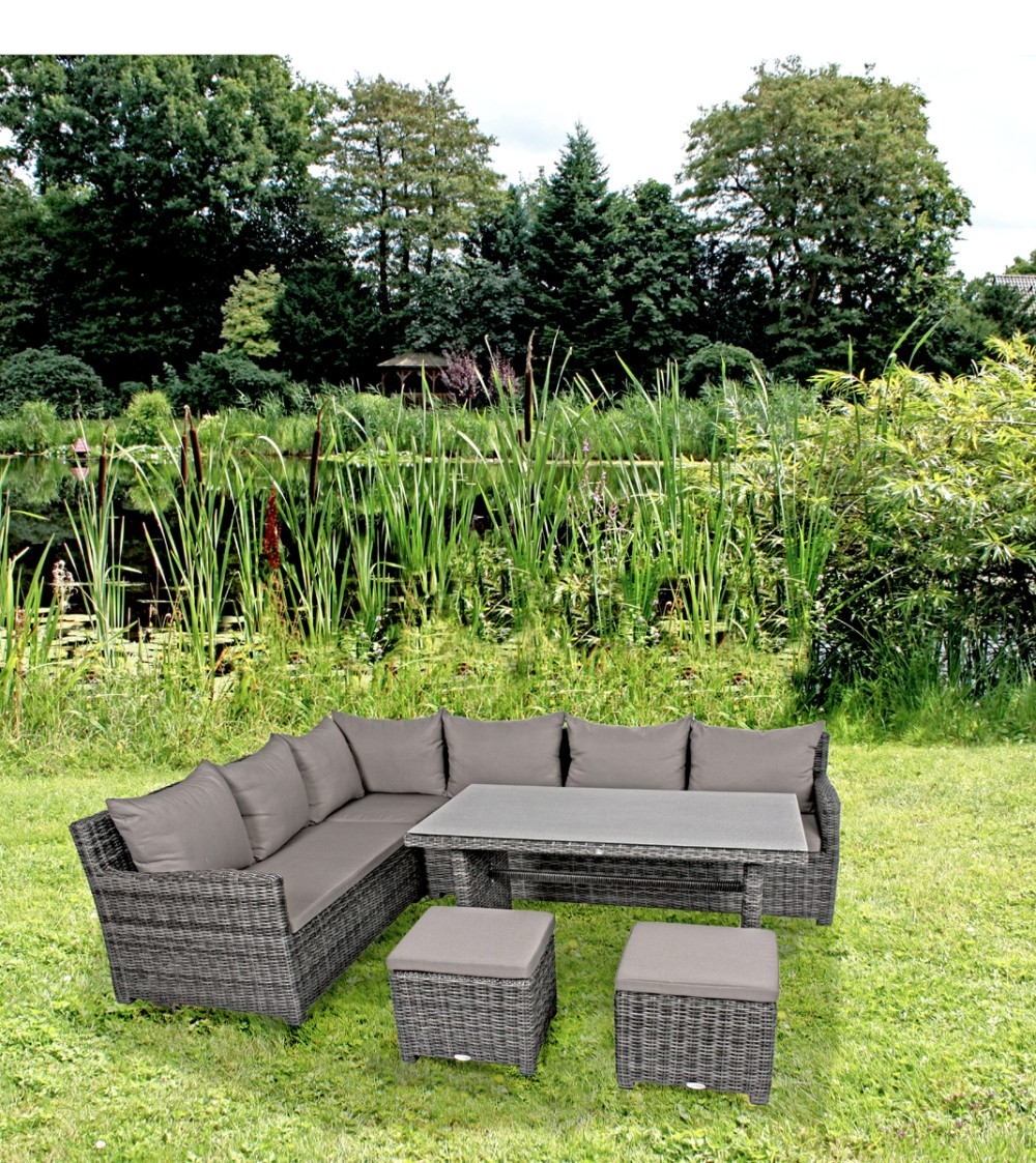 garten lounge eckgruppe sitzgruppe sofa tisch hocker terrasse rattan optik ebay. Black Bedroom Furniture Sets. Home Design Ideas