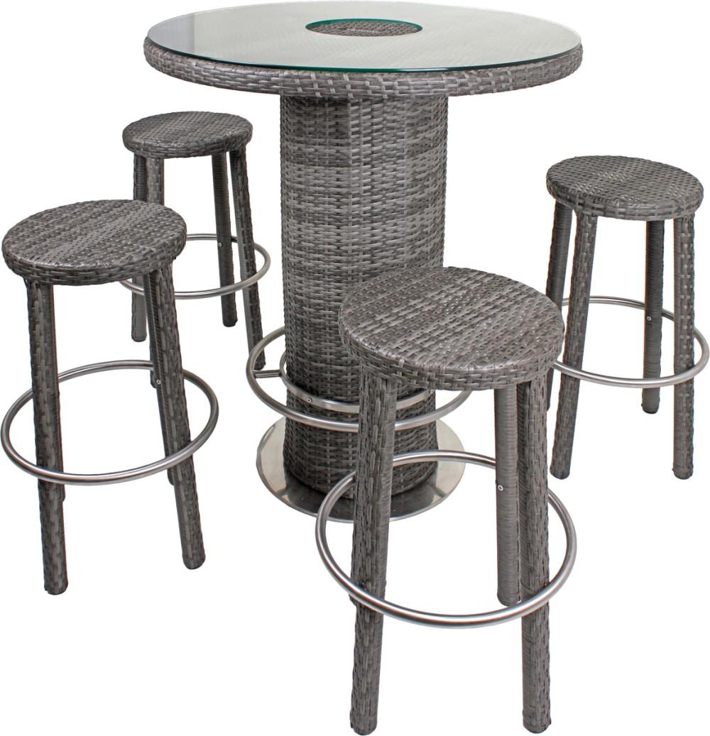 5tlg garten bar set glas stehtisch hocker tisch stuhl st hle rattan optik grau ebay. Black Bedroom Furniture Sets. Home Design Ideas