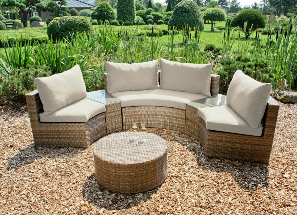 garten sofa set lounge sitzgruppe terrasse gartenm bel rattan optik sand ebay. Black Bedroom Furniture Sets. Home Design Ideas