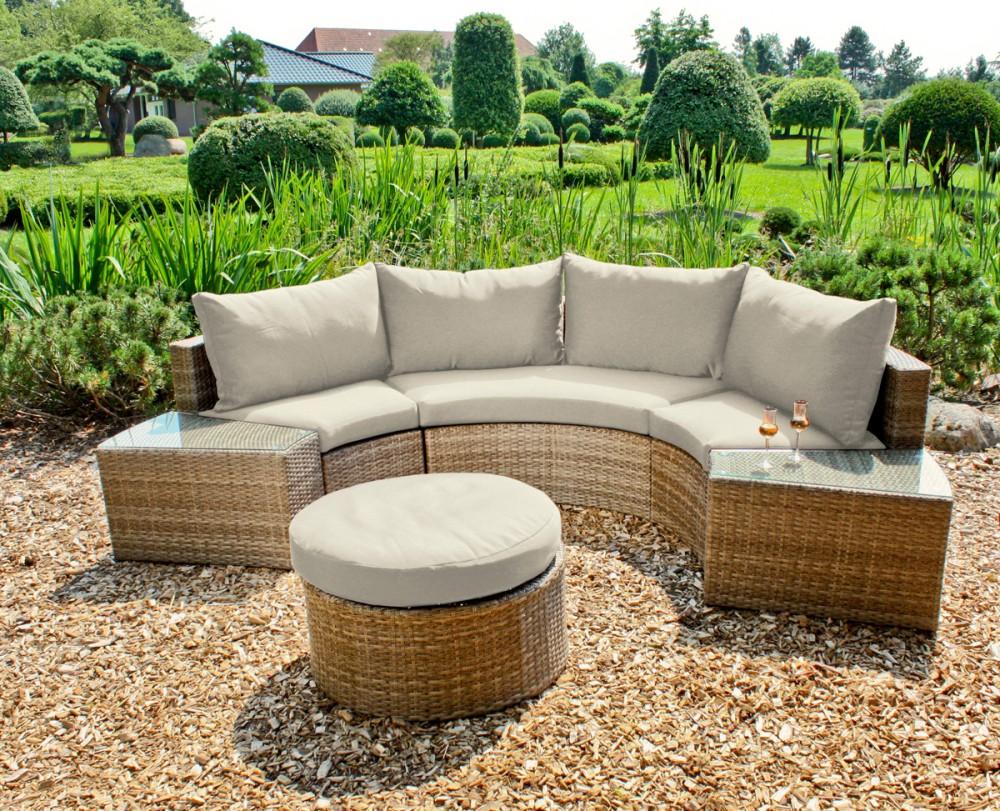 garten sofa set lounge sitzgruppe terrasse gartenm bel rattan optik sand ebay. Black Bedroom Furniture Sets. Home Design Ideas