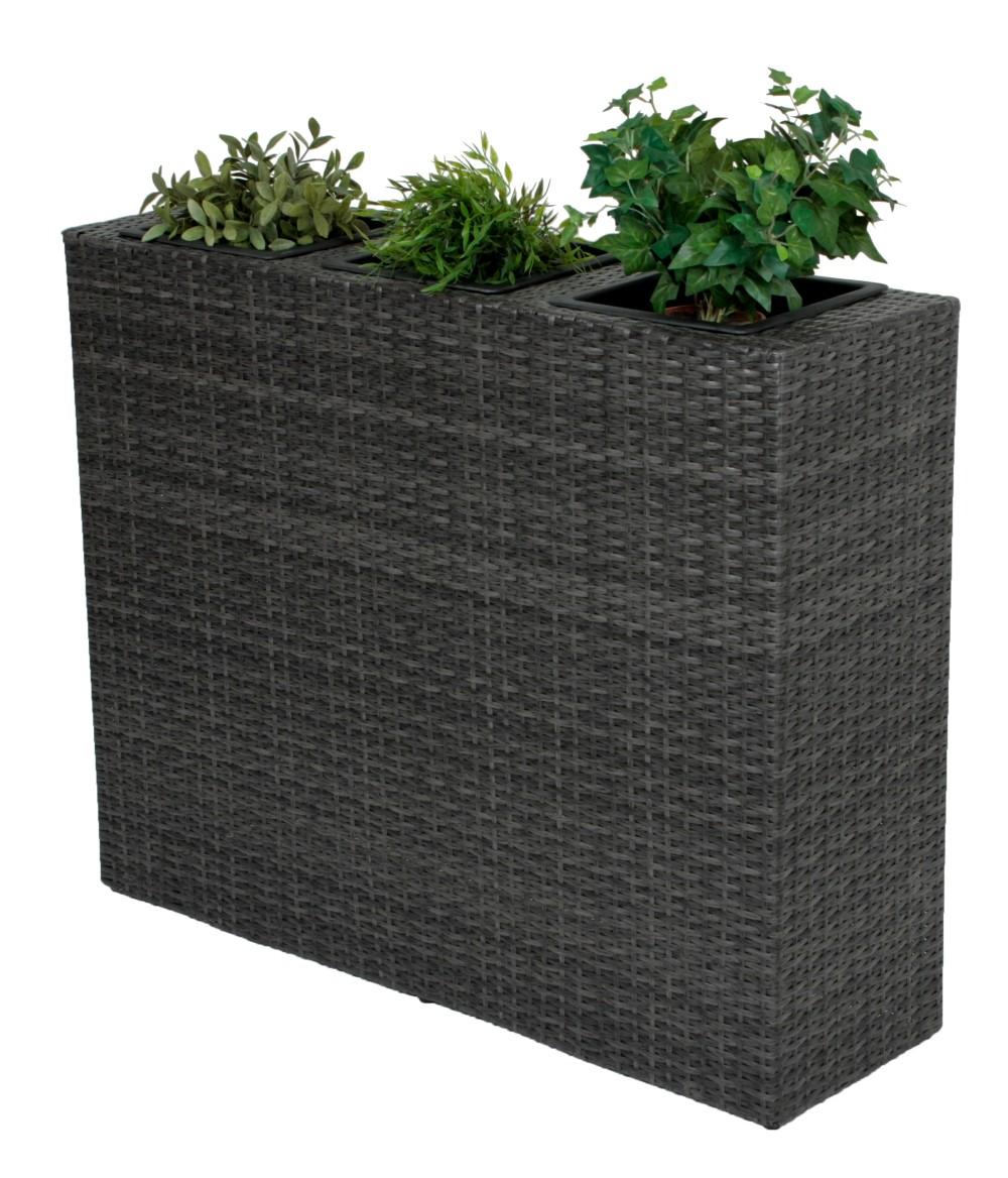 rattan raumtrenner mit 3 pflanzt pfen pflanzschale blumentopf grau bertopf garten deko. Black Bedroom Furniture Sets. Home Design Ideas