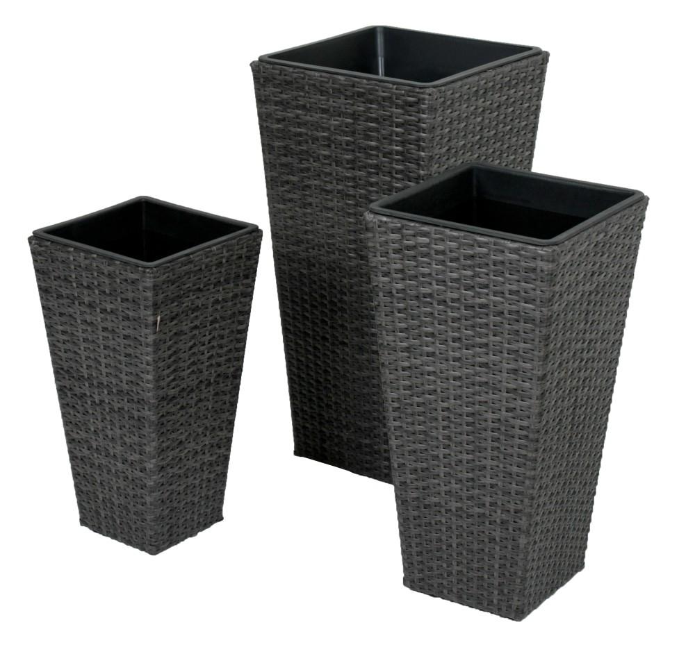 3er set rattan pflanzschale blumentopf pflanzschale. Black Bedroom Furniture Sets. Home Design Ideas