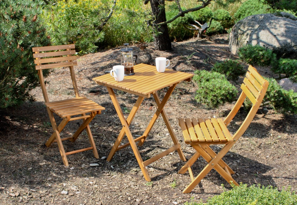 3tlg. Garden Pleasure Balkon Set Alameda Akazie Holz Tisch + Stuhl ...
